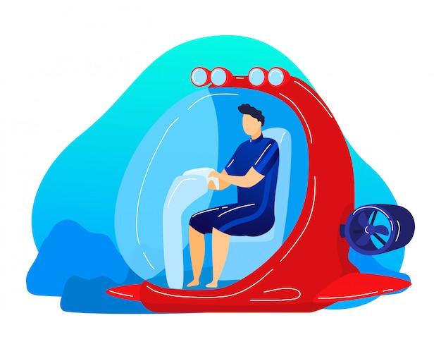 Подводный транспорт батискаф, современные исследования морских глубин, изолированные на белом, карикатура иллюстрации