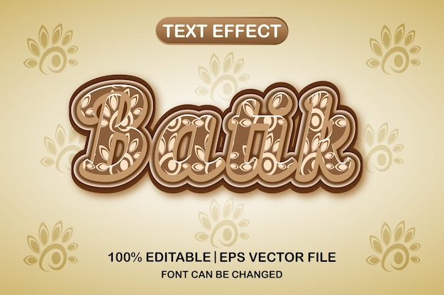 바틱 3d 편집 가능한 텍스트 효과