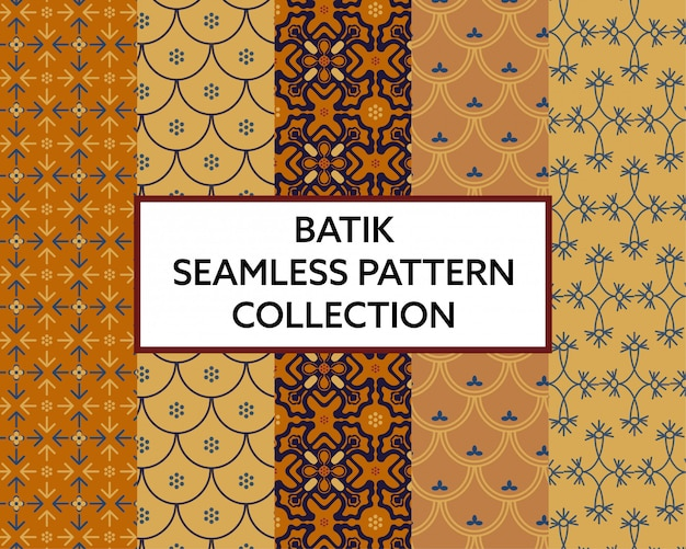 Batik fabric seamless pattern collection vector