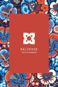 パブリックドメインのアートワークからリミックスされたブランドロゴのバティック花柄テンプレートベクトル