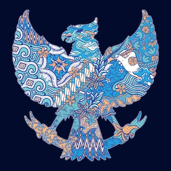 Batik indonesia garuda silhouette illustration