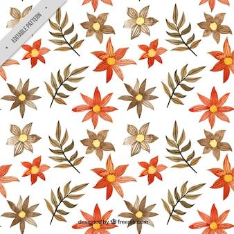꽃과 수채화 잎의 바틱 패턴
