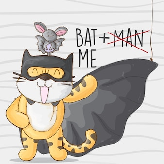 Batman tiger and bat. cute tiger animal little hero