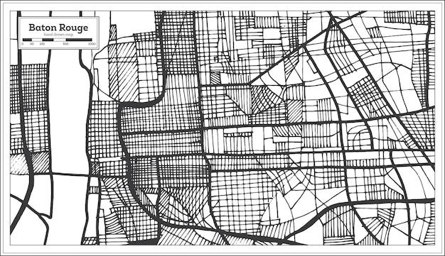 Карта города батон-руж луизиана сша в стиле ретро. контурная карта. векторные иллюстрации.