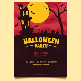 Bats of the castle halloween poster template
