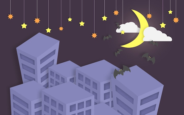 Bats flying around the city on halloween night paper art style