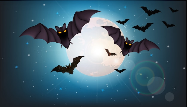 Bats flying at night halloween illustration