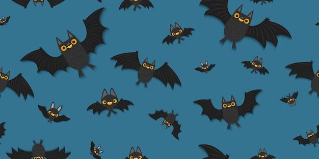 Bats flying seamless pattern.