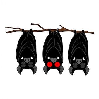 Bats hanging on the branch cartoon character