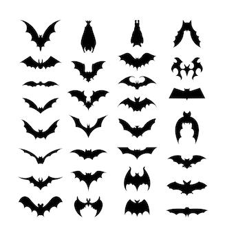 박쥐 세트입니다. 문신과 스티커를 만들기 위한 벡터 채워진 아이콘.
