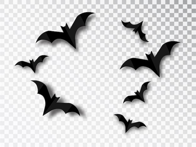 透明な背景にコウモリのシルエットが溶け込んでいます。ハロウィーンの伝統的なデザイン要素。分離されたベクトル吸血コウモリセット。