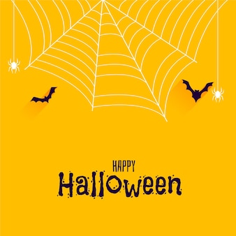 Bats and spider on happy halloween banner