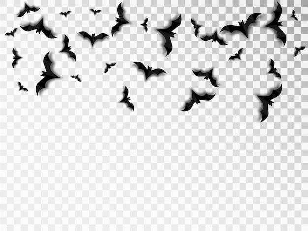 コウモリは、透明な背景にハロウィーンの孤立したベクトルを群がらせます。ハロウィーンの伝統的なデザイン要素。