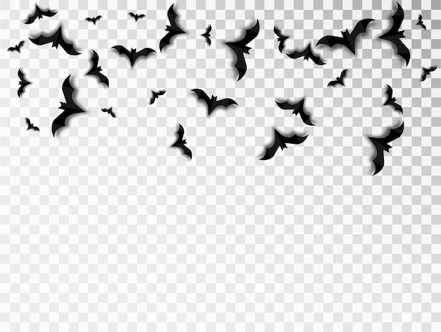 Bats swarm isolated vector for halloween on transparent background. halloween traditional design element.