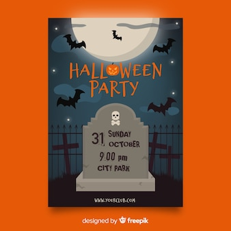 Bats and tombstone flat halloween template