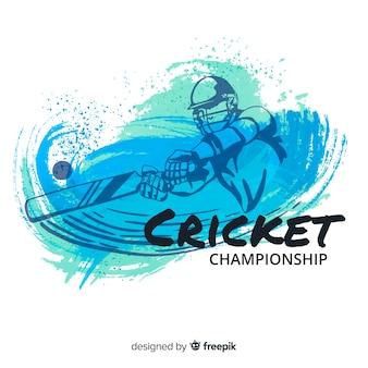 Бэтсмен играет в крикет в акварельном дизайне