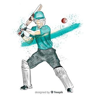 Бэтсмен играет в крикет в акварельном стиле