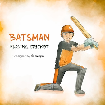 Batsman playing cricket in orange watercolor style