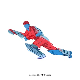 Batsman playing cricket in red and blue watercolor style