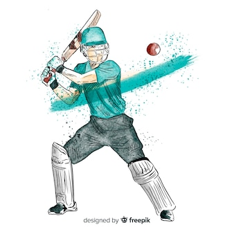 Batsman playing cricket in watercolor style