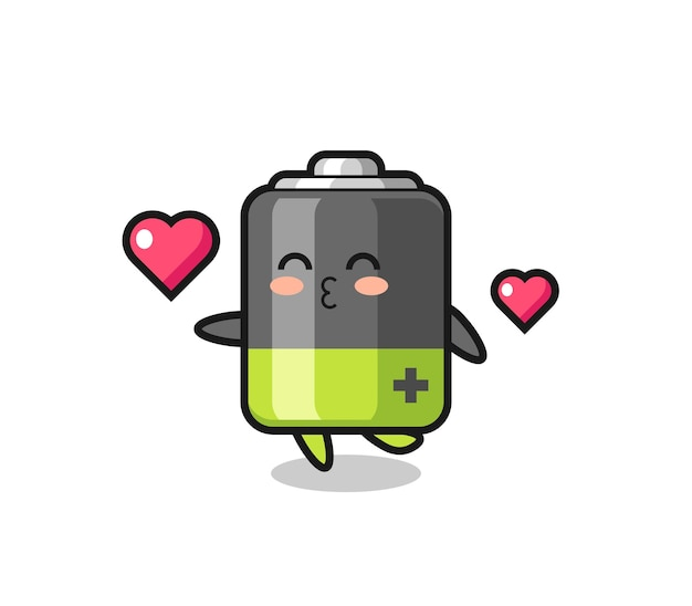 Battery character cartoon with kissing gesture , cute style design for t shirt, sticker, logo element