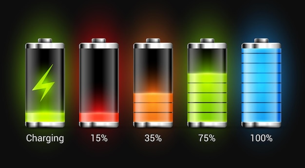 Battery charge design. full charge energy for mobile phone. accumulator indicator