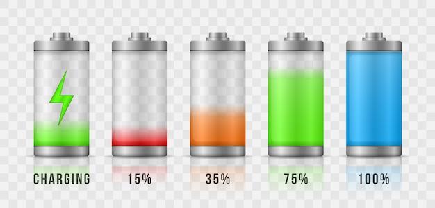 배터리 충전 최대 전력 에너지 수준. 완전 충전 및 방전 된 축전지 스마트 폰 배터리. 가젯 인터페이스, 모바일 앱, 웹 사이트 요소 및 디자인에 대한 아이콘.