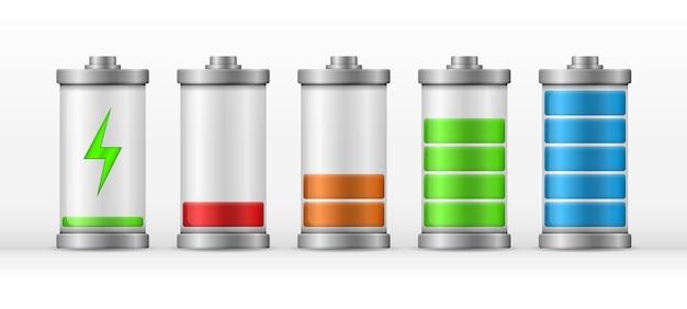 Аккумулятор заряжается на полную мощность. полностью заряженные и разряженные аккумуляторные батареи смартфона. иконки для интерфейсов гаджетов, мобильных приложений, элементов веб-сайтов и вашего дизайна.