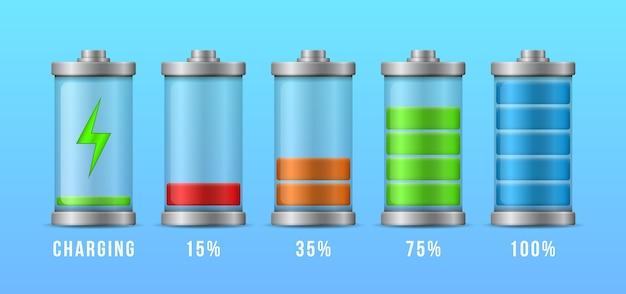 배터리 충전 최대 전력 에너지 수준. 완전 충전 및 방전 된 축전지 스마트 폰 배터리.