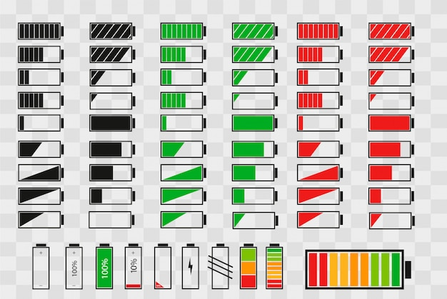 Battery charge indicator icon set Premium Vector