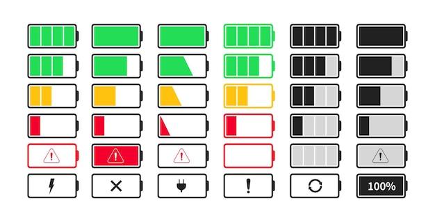 배터리 충전 표시기 아이콘 모음. 충전 수준 배터리 에너지 아이콘을 설정합니다.