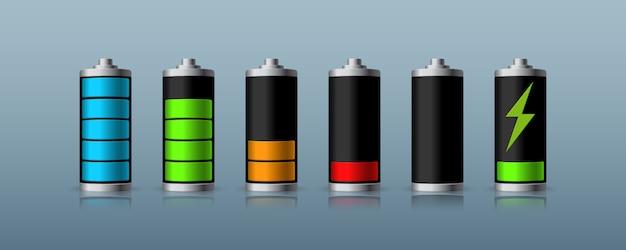 Состояние заряда аккумулятора, изолированные на темном фоне. иллюстрации.