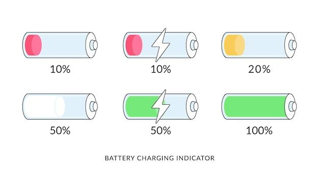 Набор иконок индикаторов зарядки аккумулятора. плоские векторные иллюстрации нескольких батарей от низкого до полностью заряженного состояния. символы мобильного интерфейса для подзарядки элементов и емкости пауэрбанков