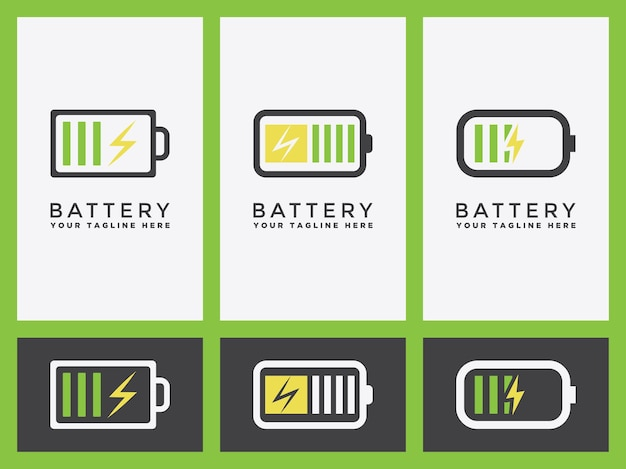 Battery charging logo set or indicator icon in vector graphic design