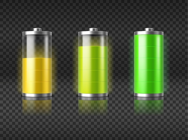 Battery charging status from haft charge level to full with yellow and green glowing light indicator. power energy symbol set isolated on transparent black background. realistic vector illustration