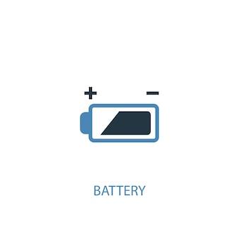 배터리 개념 2 컬러 아이콘입니다. 간단한 파란색 요소 그림입니다. 배터리 개념 기호 디자인입니다. 웹 및 모바일 ui/ux에 사용할 수 있습니다.