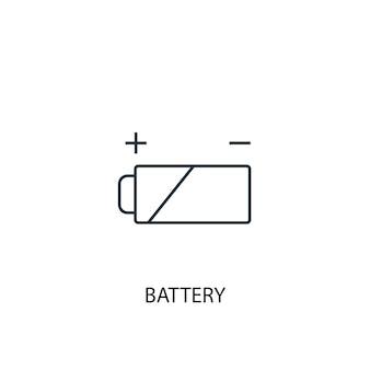 배터리 개념 라인 아이콘입니다. 간단한 요소 그림입니다. 배터리 개념 개요 기호 디자인입니다. 웹 및 모바일 ui/ux에 사용할 수 있습니다.