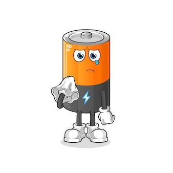 バッテリーはティッシュのキャラクターで泣きます。漫画のマスコット