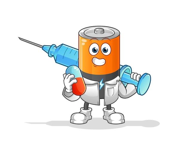 Medichine 및 주입을 들고 배터리 의사입니다. 만화 캐릭터