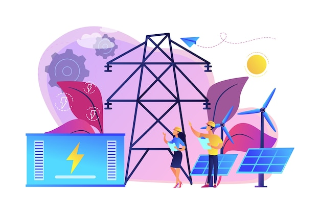 再生可能な太陽光発電所と風力発電所からのバッテリーエネルギー貯蔵。エネルギー貯蔵、エネルギー収集方法、電力網の概念。