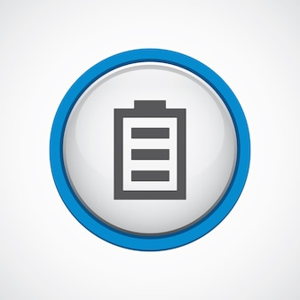 Battery glossy with blue stroke icon, circle, isolated