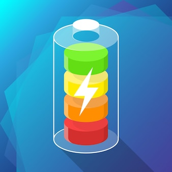 Battery icon concept on blue background