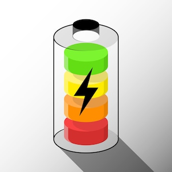 Battery icon concept on white background