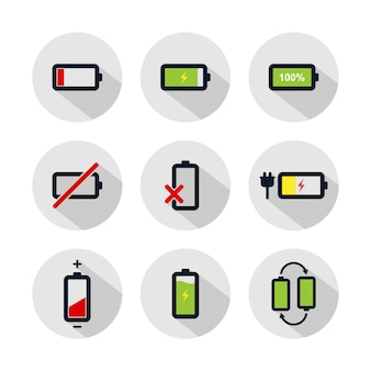 Battery icon set, battery illustration isolated on grey circle