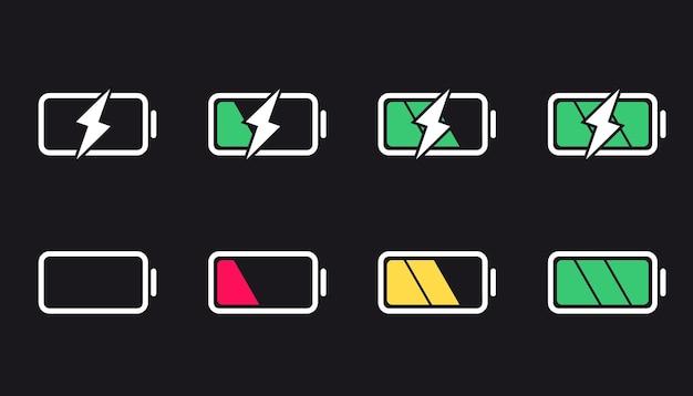 Значки батареи. уровень заряда, элементы дизайна пользовательского интерфейса батареи. полностью разряженная и разряженная батарея. набор индикаторов уровня заряда аккумулятора смартфона.