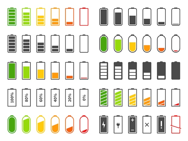 Battery icons isolated on white