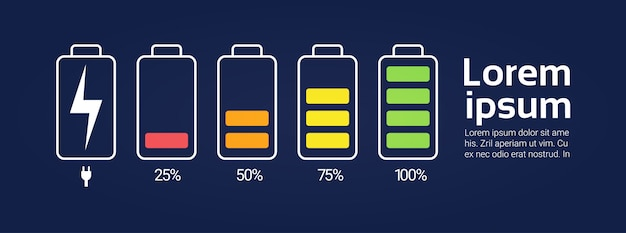 Battery icons set chargers from low to high charge level indicator template banner with copy space