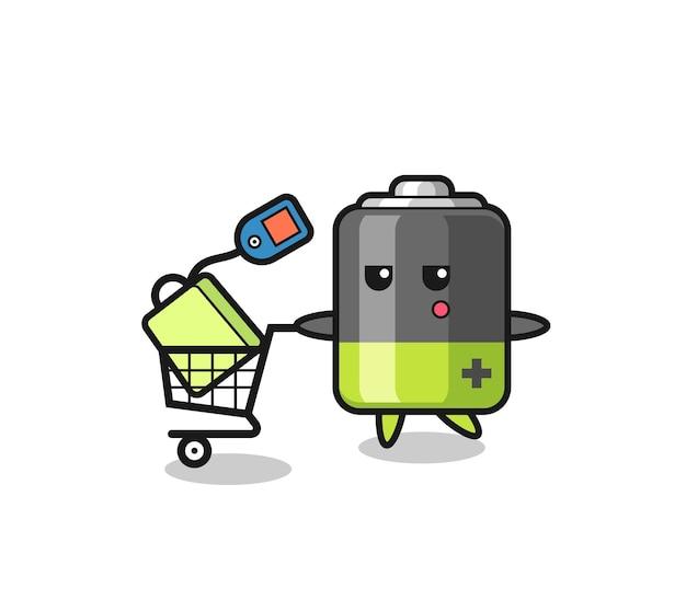 쇼핑 카트가 있는 배터리 그림 만화, 티셔츠, 스티커, 로고 요소를 위한 귀여운 스타일 디자인
