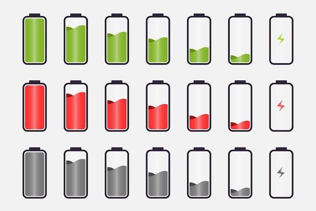 배터리 표시기 아이콘 다채로운 컬렉션
