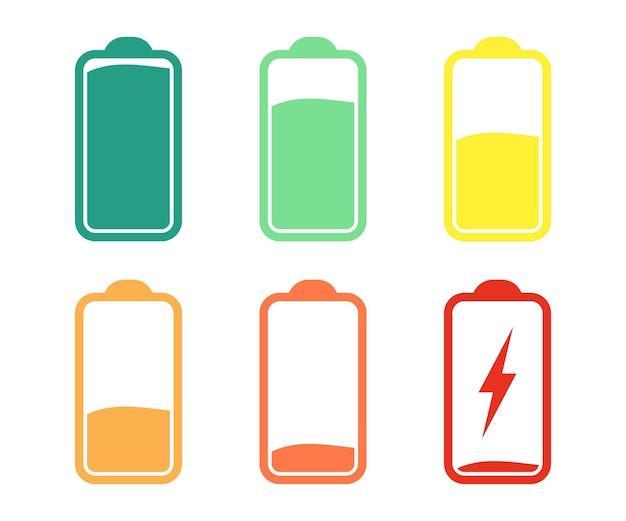 배터리 표시기 아이콘, 방전 및 완전히 충전된 배터리. 배터리 충전 수준 표시기 세트